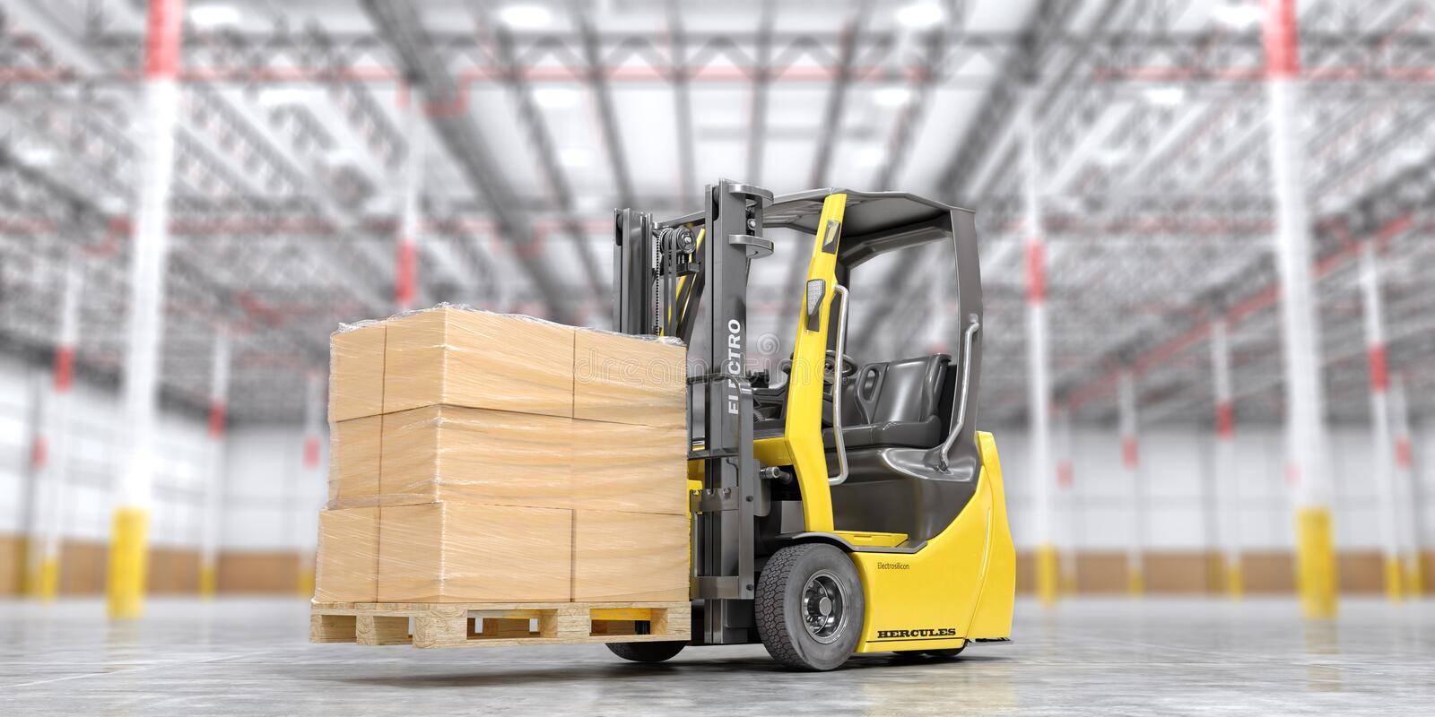 Modern forklift with cardboard boxes on a blurred warehouse background. 3d stock illustration