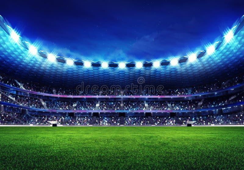 Modern fotbollsarena med fans i ställningarna stock illustrationer