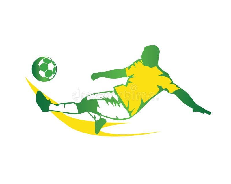 Modern fotbollspelare i handlinglogoen - snabb spark för gräsplan stock illustrationer
