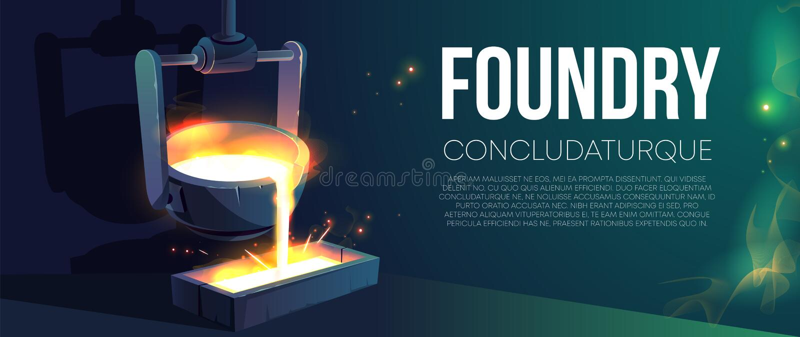 Modern foundry production realistic vector banner stock illustration