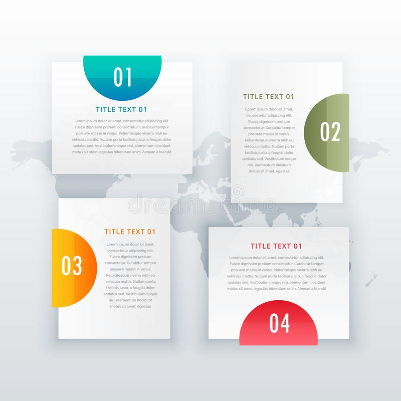 modern four steps white infograph layout design for business diagrams workflow royalty free illustration