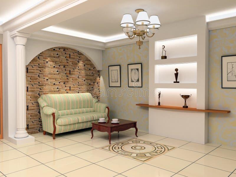 Modern foyer interior vector illustration