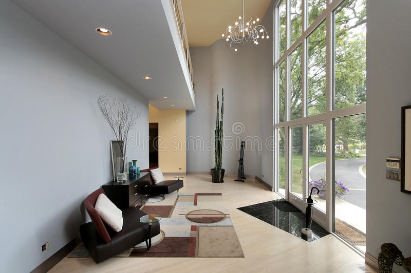Modern Foyer Images : Modern foyer with two story windows stock image of
