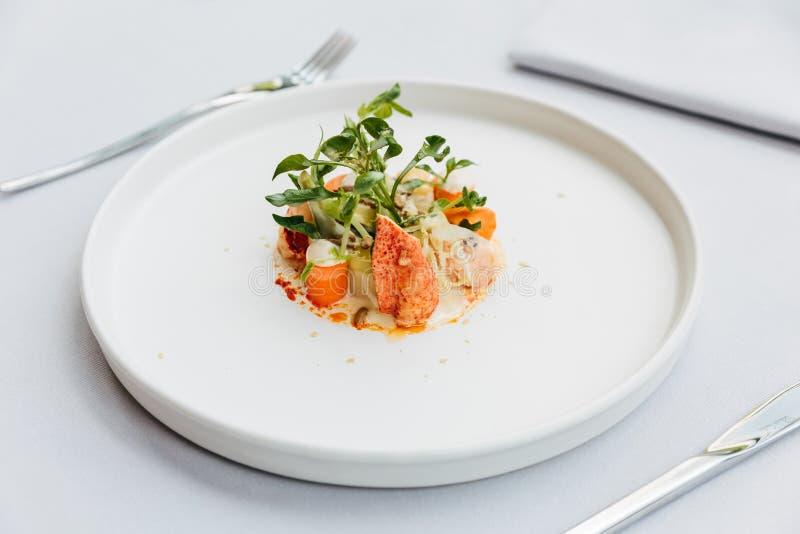 Modern fransk kokkonst: Bästa sikt av sallad för hummersvans inklusive humret, sparris och grillat solrosfrö med vit sås royaltyfri foto