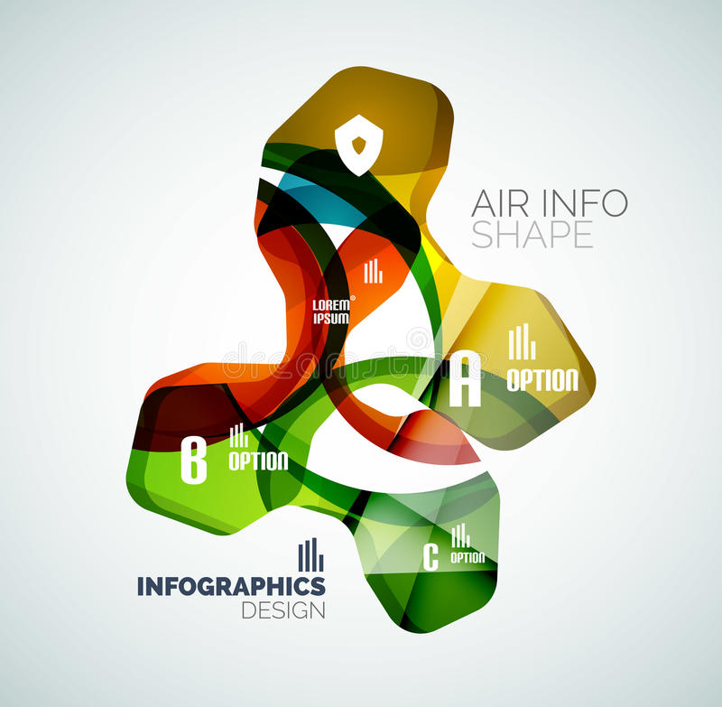 Modern fresh wave business infographics. Flowing wave shapes with sample numbers royalty free illustration