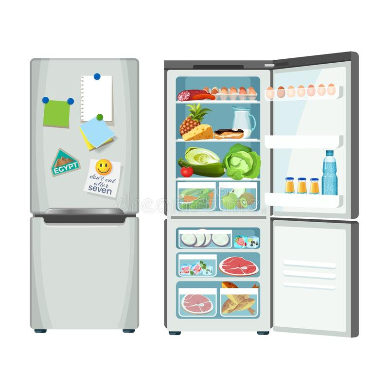 Modern fridge with different food set colorful poster. Fridge closed and full of products, vector refrigerator for food storage, silver case with metal handles vector illustration