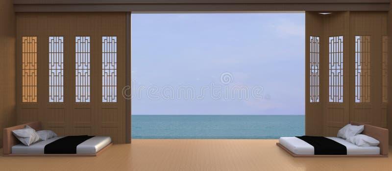 Modern/fridsam lyxig ferie bädda ned för strand- och havssikten - i asiatiskt/Sundeck på havssikt stock illustrationer