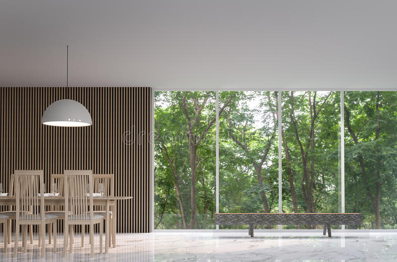 Modern fridsam matsal i skogen vektor illustrationer