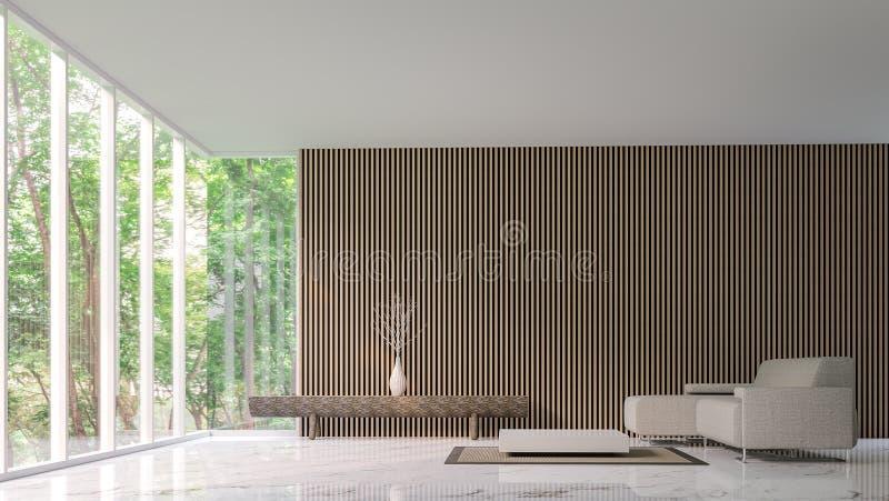 Modern fridsam vardagsrum i skogen stock illustrationer