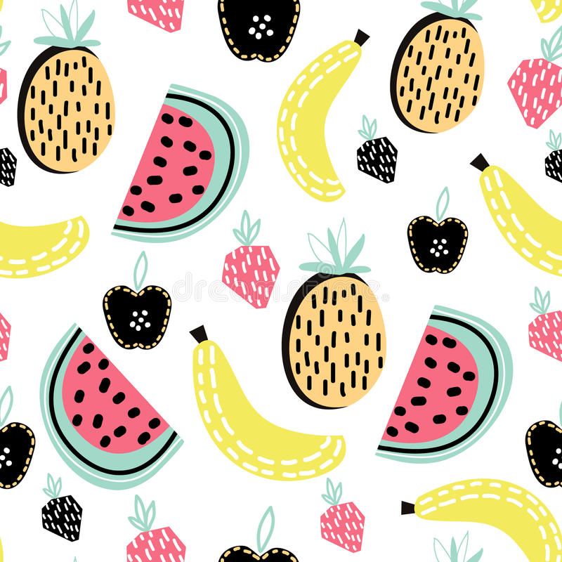 Modern fruit seamless pattern. Great for kids fabric, textile, etc. Vector Illustration. Modern fruit seamless pattern. Great for kids fabric, textile, etc vector illustration