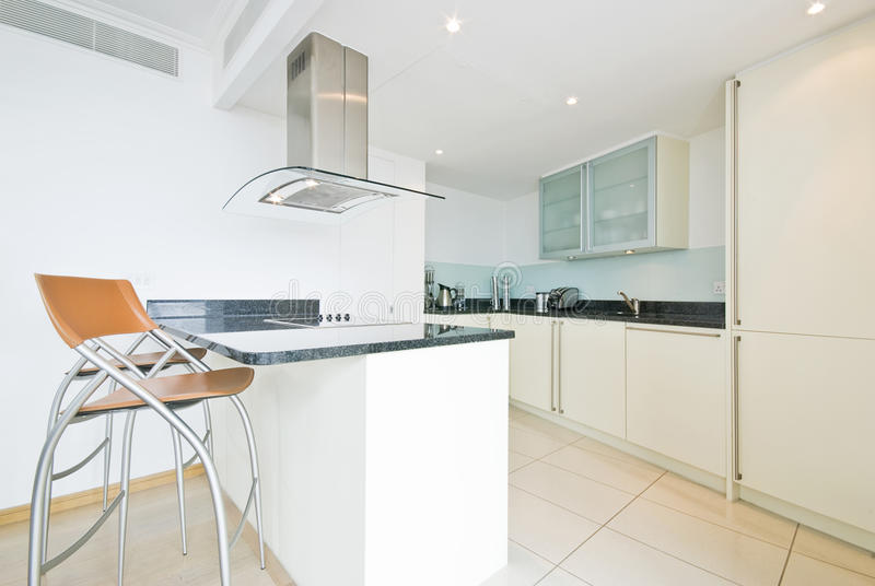 Download Modern Fully Fitted Kitchen In Vanilla White Stock Image - Image: 14664039