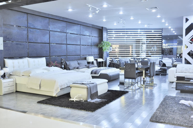 Modern furniture store. Modern bedroom and living room furniture for sale in a shopping mall.at Wuxi city,jiangsu,china stock photography