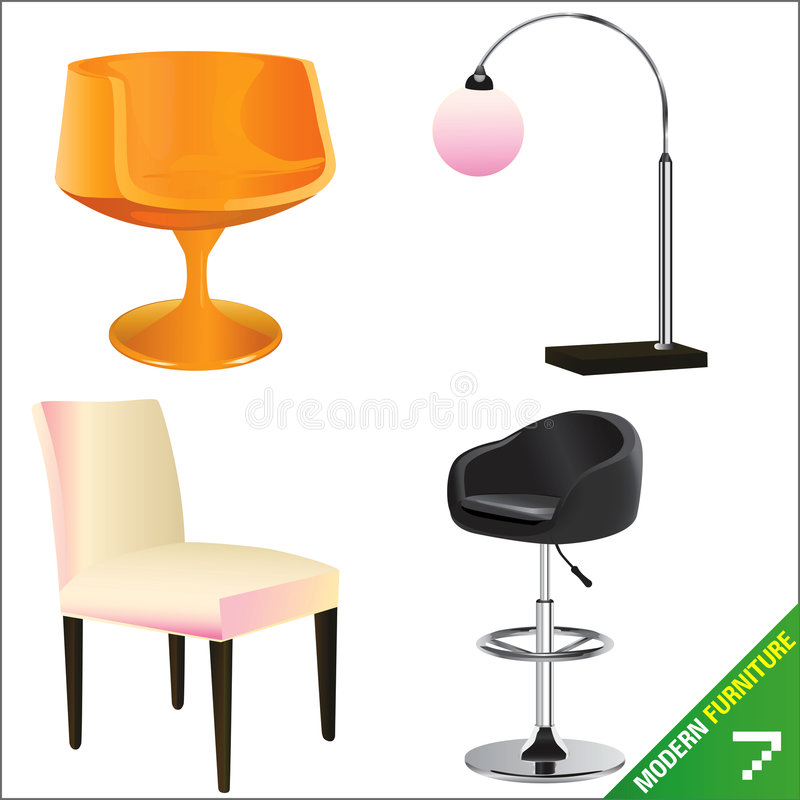 Modern furniture vector 7 stock illustration