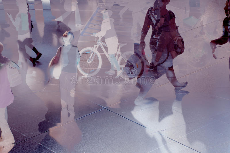 Modern and future city. Abstract modern city with people (womens, mens and kids) walking over reflections. Composite image vector illustration