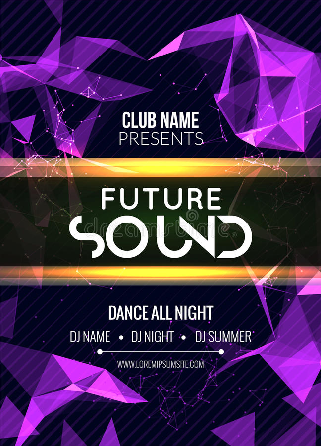 Modern Future Sound Party Template, Dance Party Flyer, brochure. Night Party Club sound Banner Poster vector illustration