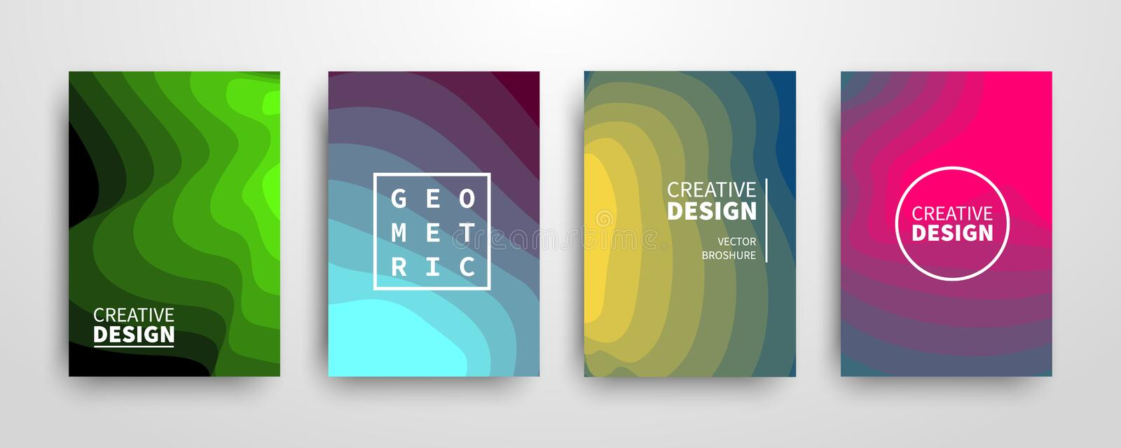 Modern futuristic abstract geometric covers set royalty free illustration