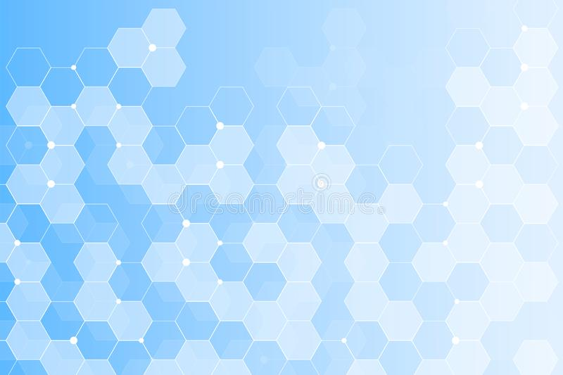 Modern futuristic background of the scientific hexagonal pattern. Virtual abstract background with particle, molecule stock illustration