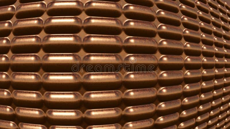 Modern futuristic Copper background fish eye effect. 3Drendering royalty free stock image