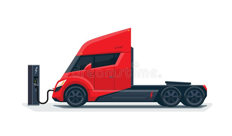 Modern Futuristic Electric Semi Truck Charging at Charger Station stock illustration