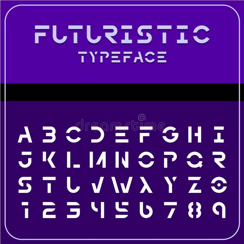 Modern futuristic sci-fi font. Future space text. Modern futuristic sci-fi font. Strong future space style typeface with gaps. Electronic, techno, geometric vector illustration