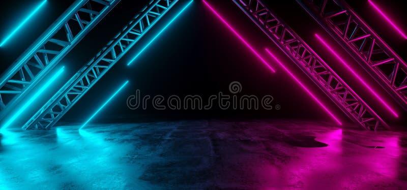 Modern Futuristic Sci-Fi Purple Blue Neon Lights On Abstract Con royalty free illustration