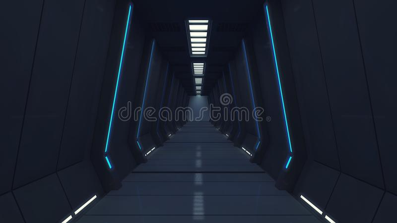 Modern and futuristic spaceship corridor royalty free stock photography