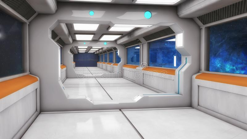 Modern and futuristic spaceship corridor. 3d rendering. Modern and futuristic spaceship corridor royalty free stock images