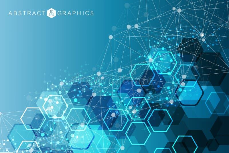Modern futuristisk bakgrund av den vetenskapliga sexhörniga modellen Faktisk abstrakt bakgrund med partikeln, molekyl royaltyfri illustrationer