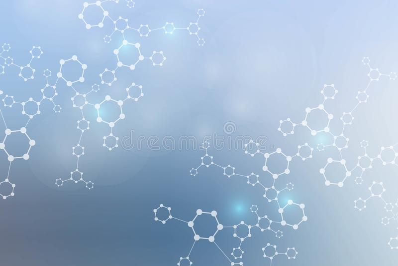 Modern futuristisk bakgrund av den vetenskapliga sexh?rniga modellen Faktisk abstrakt bakgrund med partikeln, molekyl vektor illustrationer