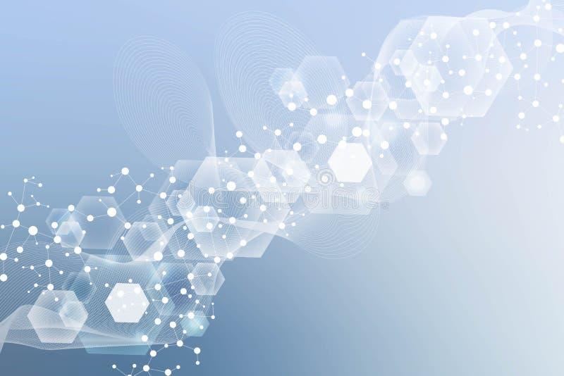 Modern futuristisk bakgrund av den vetenskapliga sexh?rniga modellen Faktisk abstrakt bakgrund med partikeln, molekyl stock illustrationer