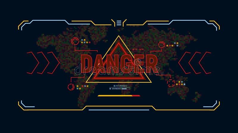 Modern futuristisk bakgrund med fara för varningsmeddelande Science fictionanvändargränssnittdesign på bakgrundsvärldskarta i PIX vektor illustrationer