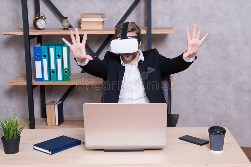 Modern gadget. Business implement modern technology. Virtual work space. Businessman explore virtual reality. Interact. In virtual reality. Man formal suit work stock photos