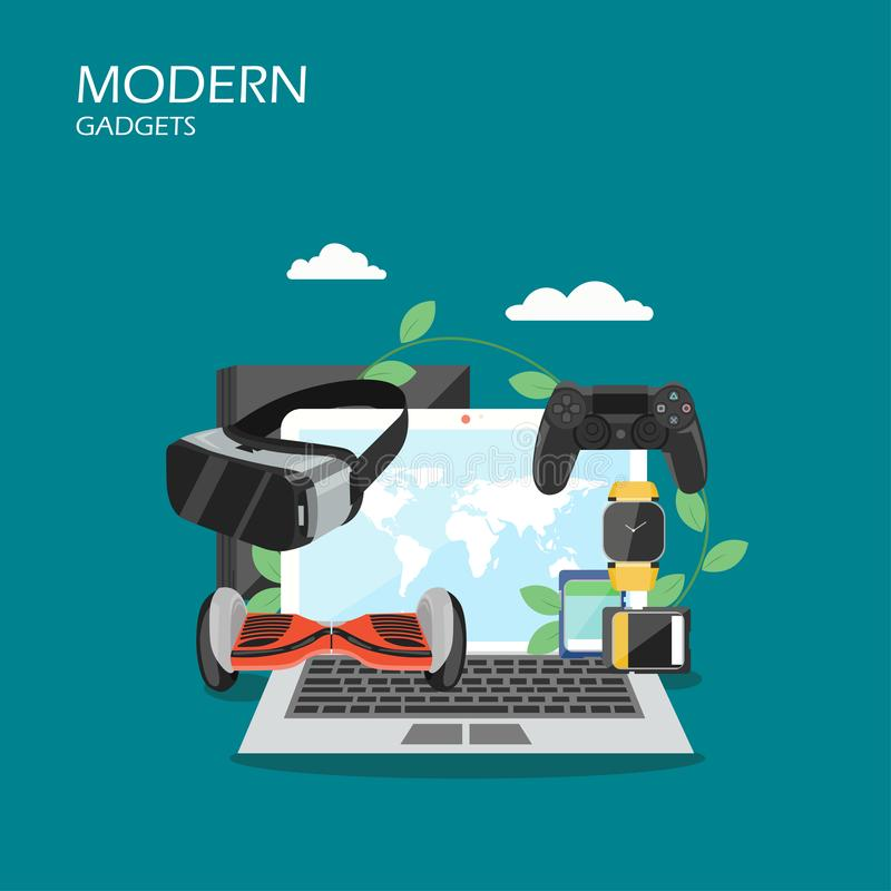 Modern gadgets vector flat style design illustration royalty free illustration