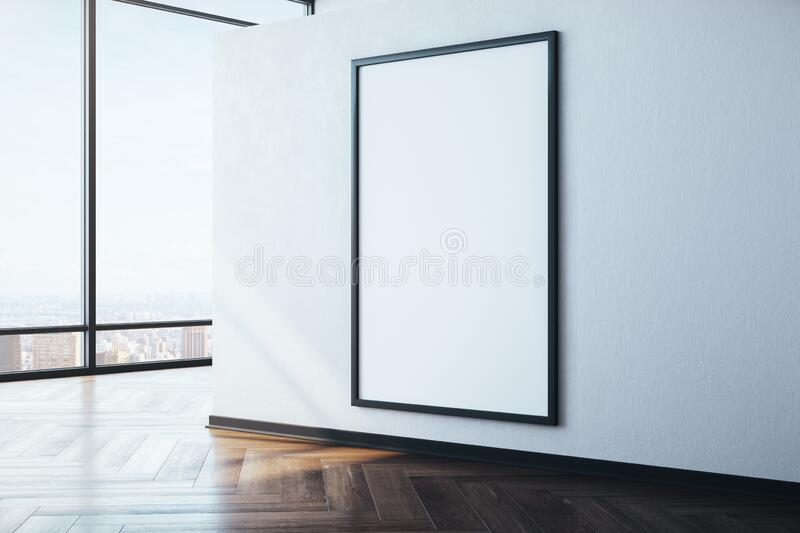 Modern gallery with city view and empty poster on concrete wall. Museum concept. Mock up, 3D Rendering vector illustration