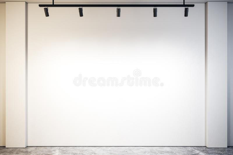 Modern gallery with empty wall stock illustration