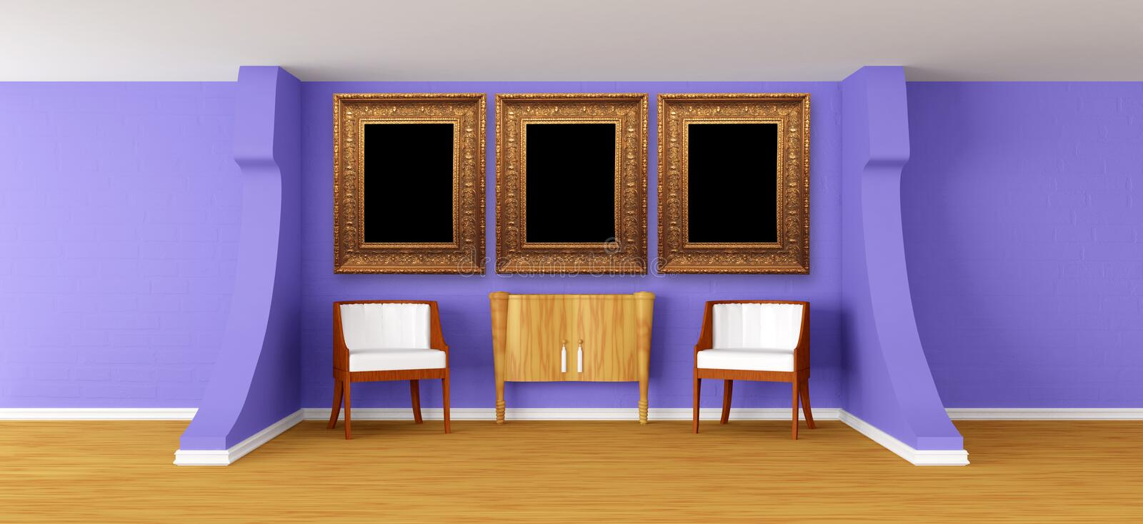 Download Modern Gallery With Luxurious Armchairs And Bureau Stock Illustration - Image: 20592767