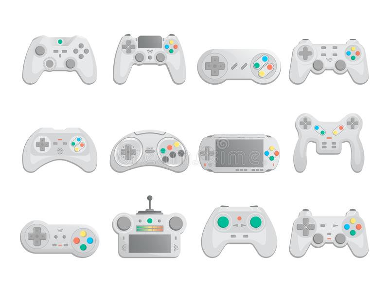 Modern gamepad set in cartoon style. Game gadgets collection, control console for video game, wireless joystick or joypad isolated vector illustration vector illustration