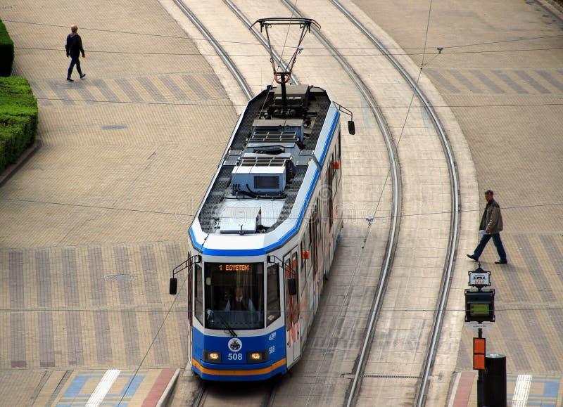 Modern Ganz tram in Debrecen, Hungary. DEBRECEN/HUNGARY - APRIL 18, 2015: Modern Ganz Hunslet KCSV 6 tram on the main street of Debrecen. These are the last stock photo