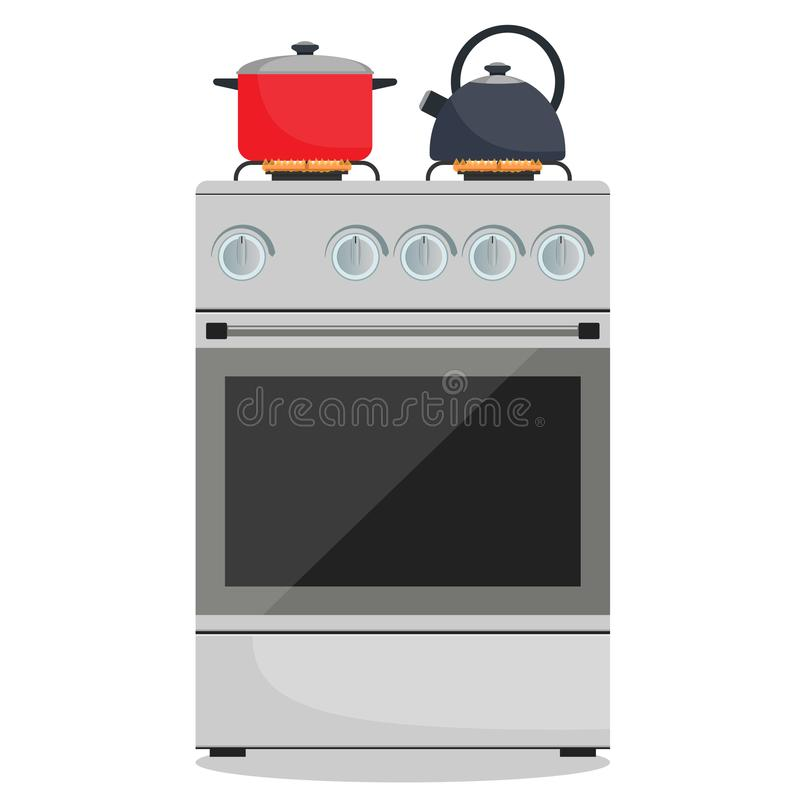 Modern gas stove, pot and kettle on it on flame. Home kitchen stove. Preparing food, cooking. Vector illustration in flat style. stock illustration