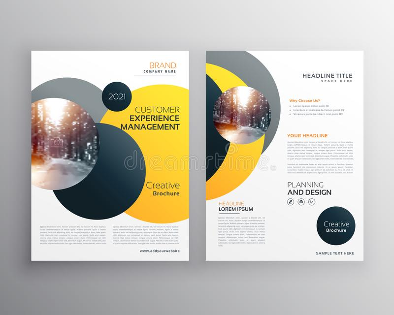 Modern geel geometrisch het ontwerpmalplaatje van de vliegeraffiche stock illustratie