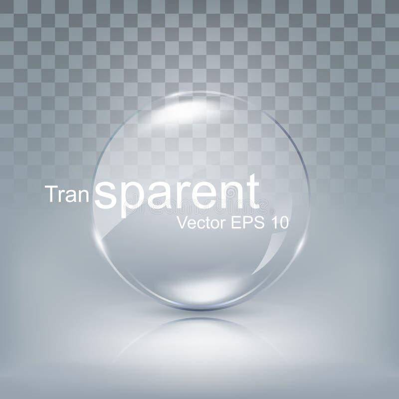 Modern genomskinlig cirkellins, sfärexponeringsglas för knapp med skugga på vit bakgrund, vektorillustration stock illustrationer