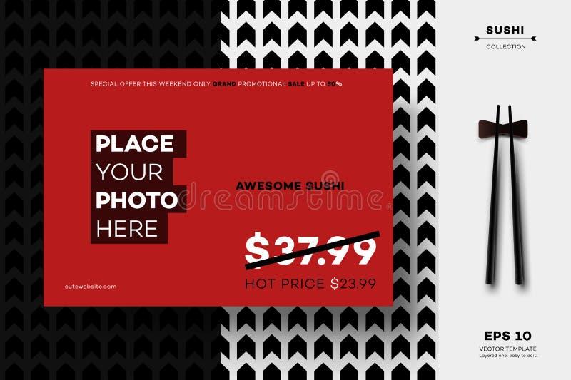 Modern Geometric Black White MockUp. Vector Layout Template For Sushi Menu, Leaflet, Brochure, Newsletter, Poster, Web. Site, Gift Card Or Presentation Design vector illustration