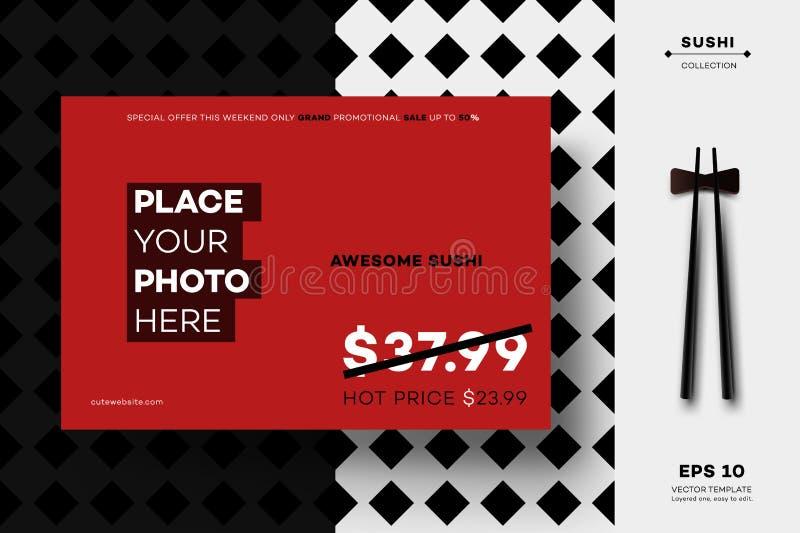 Modern Geometric Black White MockUp. Vector Layout Template For Sushi Menu, Leaflet, Brochure, Newsletter, Poster, Web. Site, Gift Card Or Presentation Design stock illustration