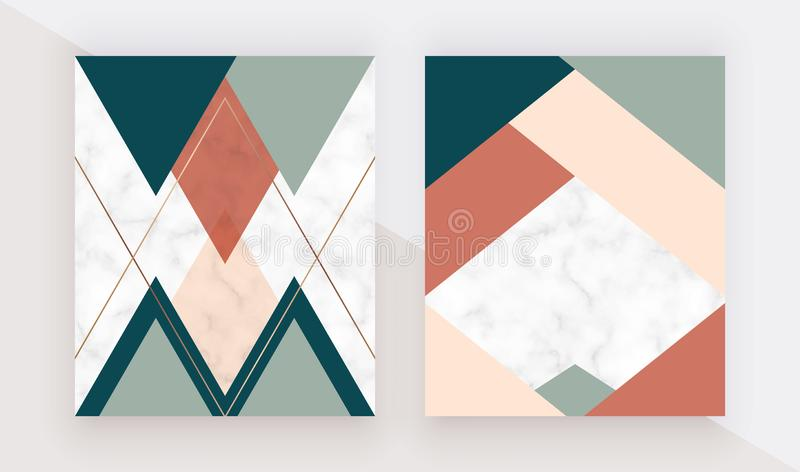Modern geometric cover design with pink, green, orange triangles shapes and gold lines on the marble texture. Template for card, f vector illustration