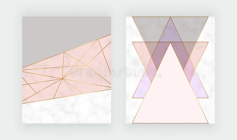 Modern geometric cover design with pink, grey triangles shapes, golden lines on the marble texture. Background for card, flyer, in. Vitation, party, birthday stock illustration