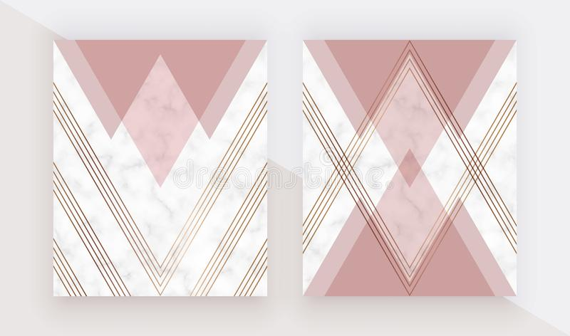 Modern geometric cover design with pink triangles shapes and gold lines on the marble texture. Template for card, flyer, invitatio vector illustration