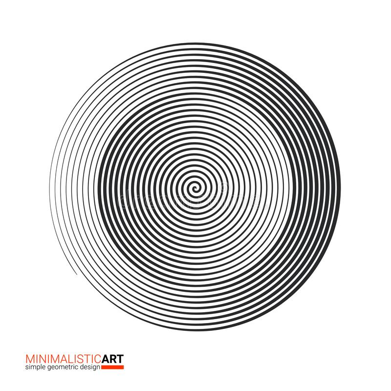 Modern geometric design, minimalistic art. Simple black and white shape in bauhaus style. Halftone concentric spiral vector illustration