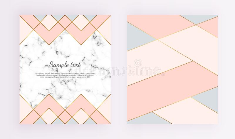 Modern geometric designs with marble texture, gold lines, pink, blue colors background. Trendy template for design banner, card, f royalty free illustration