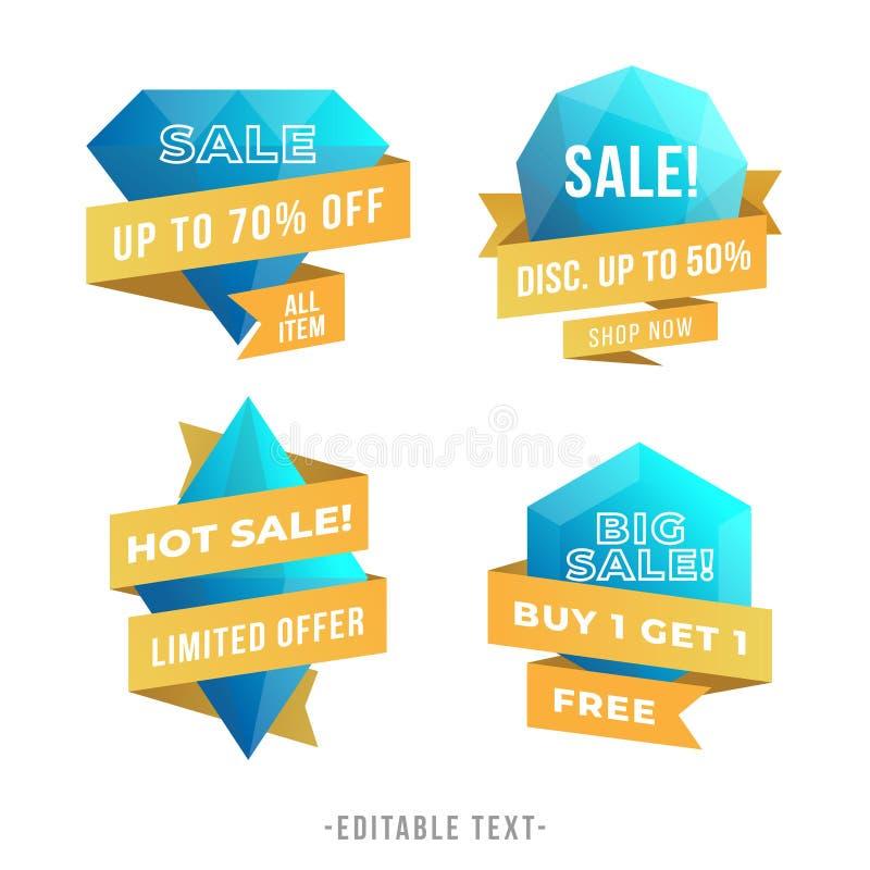Modern Geometric Gems Sale Banner Vector Collection stock illustration