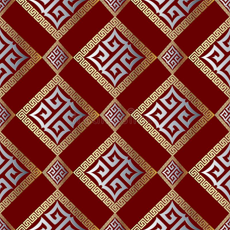 Free Modern Geometric Greek Key Seamless Pattern. Abstract Red Background Wallpaper With Gold Silver 3d Geometrical Royalty Free Stock Image - 107162286